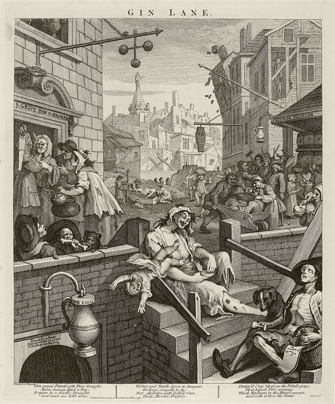 Black and white etching of an 18th century street scene depicting groups of villagers drinking and socializing.