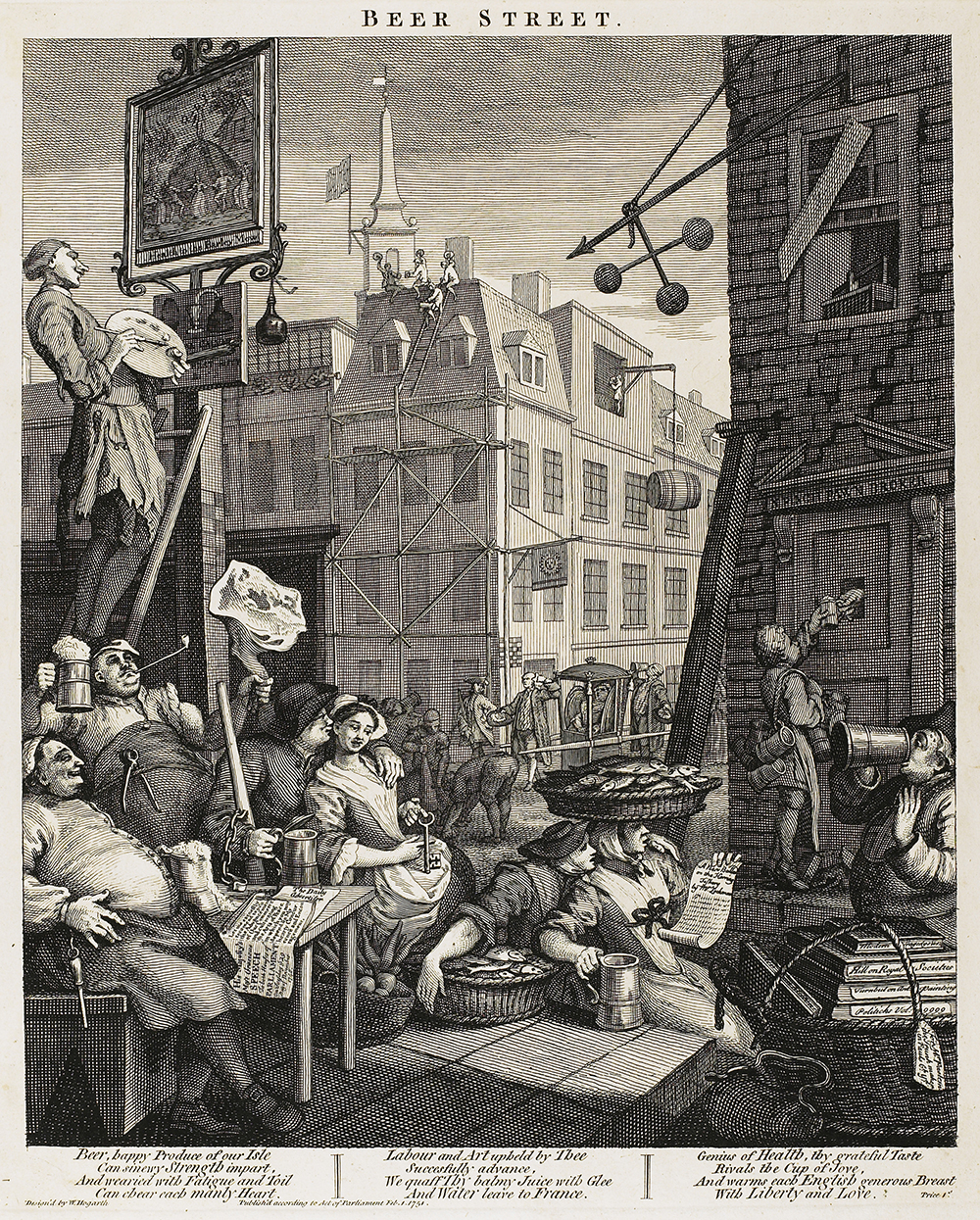 Black and white etching of an 18th century scene depicting the street life of villagers drinking beer and socializing.