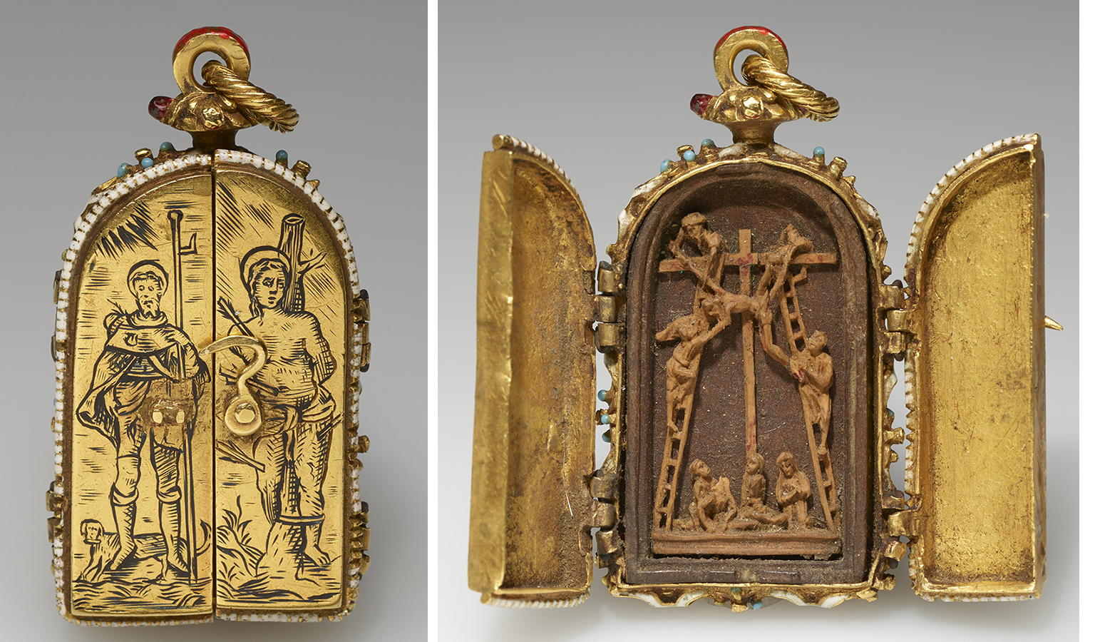 A tiny gold pendant that opens to reveal Christ's dead body being taken down from the cross. The exterior depicts two popular saints, Saint Roch and Saint Sebastian.
