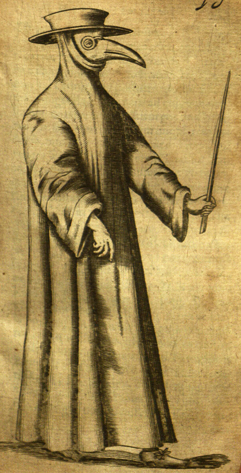 Black and white illustration of a beak doctor, a man wearing long robes and a mask with crystal eyes and a long beak-like nose filled with perfumes.